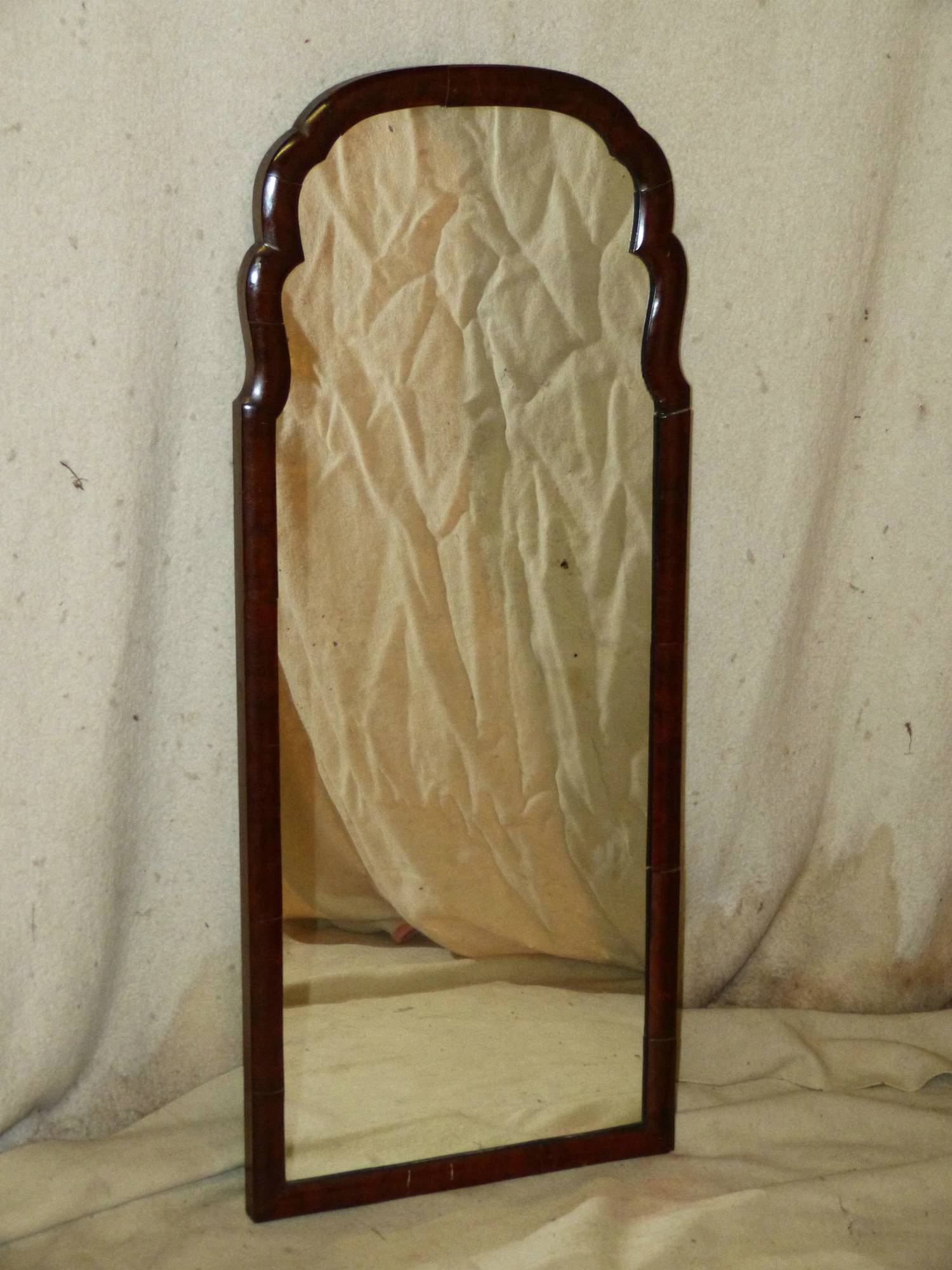 A walnut queen anne style hanging wall mirror having for Mirror 40cm wide